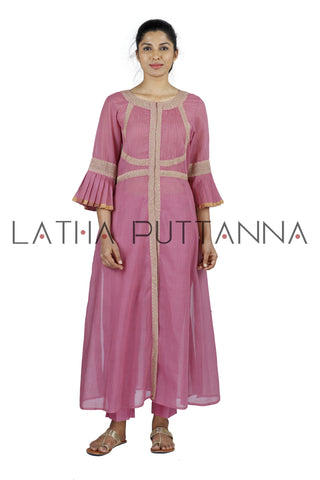 Pink Salwar with gold embroidery