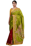 Green-Maroon Half and Half Saree