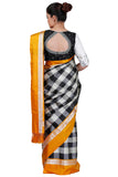 Checks Saree with  Yellow Border
