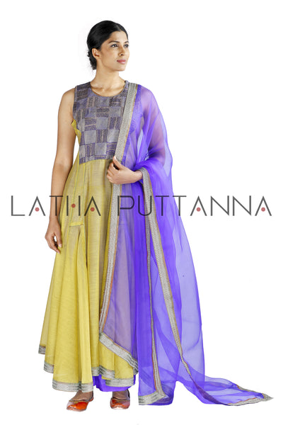 Beige and purple salwar