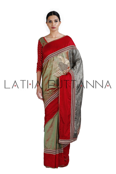 Gandberunda  -  Green Silk saree  with beautiful thread woven pallu
