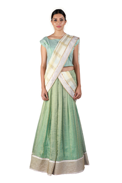 Green and Blue Lehenga