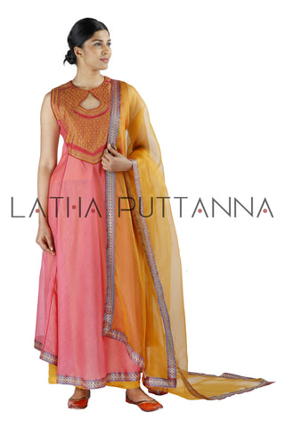 Peach and orange salwar