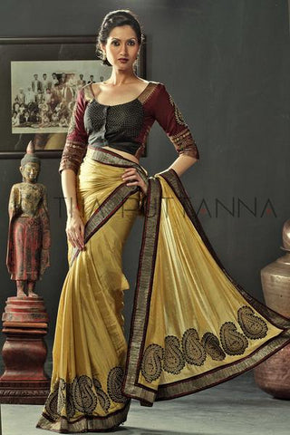 Sindhu -  Gold Tissue Saree with Paisleys on Pleats and Pallu