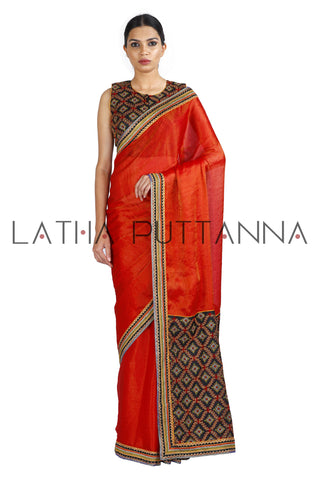Madurai - Red Tissue with Rich Thread Work Pallu