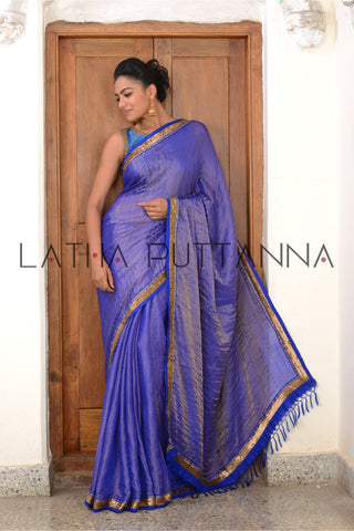 Neelambari - Purple Tissue Saree with Gold Border