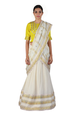 Off-white and Yellow Lehenga