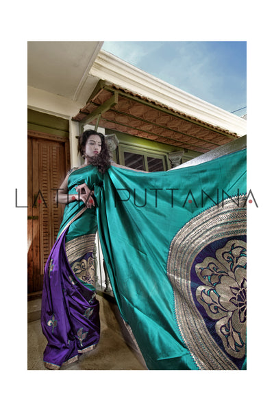 Chandrika - A two colour half and half silk saree