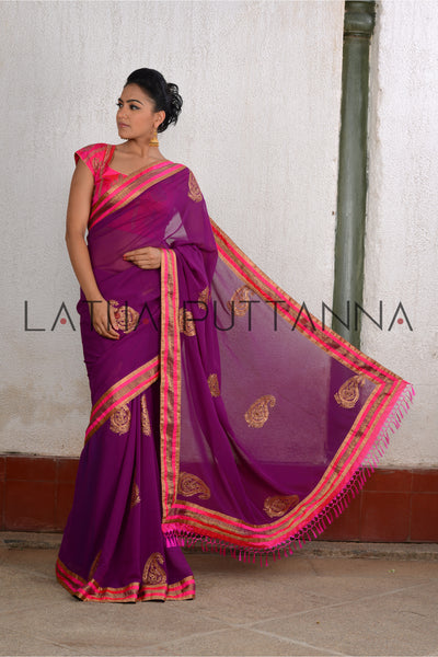 Mythili - Purple georgette saree with thread and sequence motifs