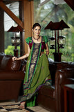 Tulsi - Green georgette with sequence border