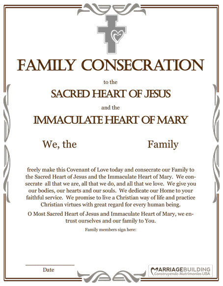 Consecration to Sacred and Immaculate Hearts Image and Prayer Booklet
