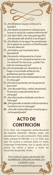 Examination of Conscience for the Married Bookmark SPANISH