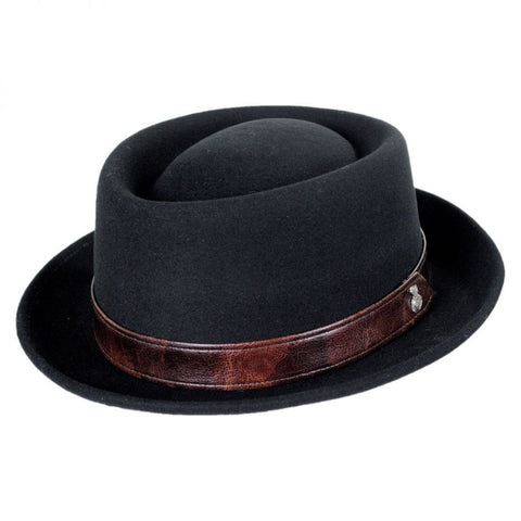 This is a high end wool felt pork pie hat designed by the one and only  Carlos Santana. This hat comes with a beautiful leather hat ... fb137afeff9