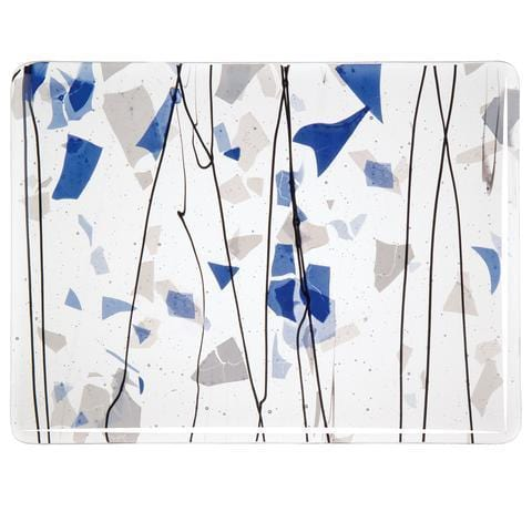 Blue and White on Clear (4119) Full Sheet Glass-The Glass Underground