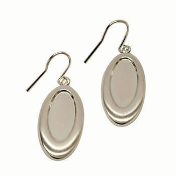 Brushed Oval Satin Earrings-The Glass Underground