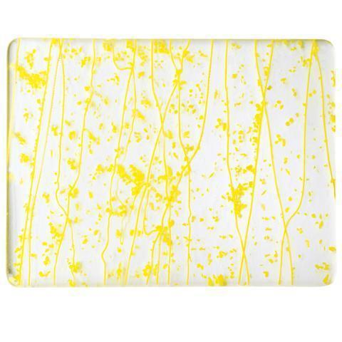 Canary and Sunflower Yellow Frit, Sunflower Yellow Streamers Mardi Gras (4220) Full Sheet Glass-The Glass Underground