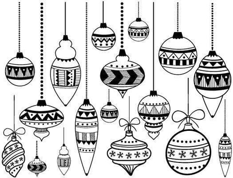 christmas ornaments decals mica white the glass underground - Christmas Decals For Glass