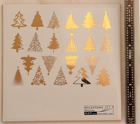 Christmas Trees Decals-Gold-The Glass Underground