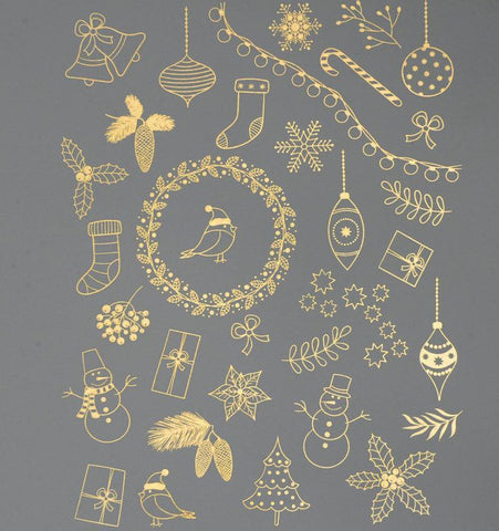 Christmas Trimmings Decals-Gold-The Glass Underground