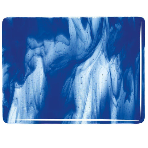 Clear, Deep Cobalt Blue Opal Streaky (2047) 3mm-1/2 Sheet-The Glass Underground