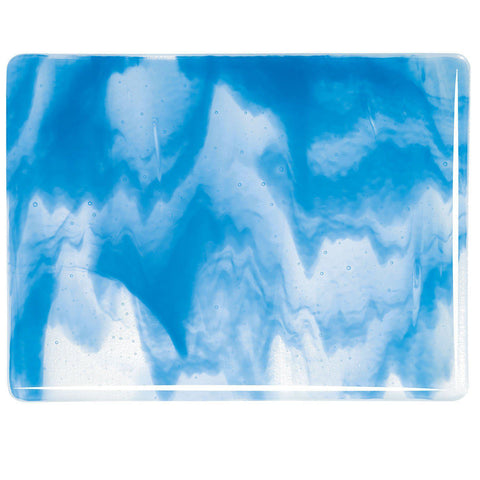Clear, Egyptian Blue Opal Streaky (2064) 3mm-1/2 Sheet-The Glass Underground
