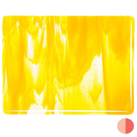Clear, Sunflower Yellow Opal Streaky (2020) 3mm-1/2 Sheet-The Glass Underground