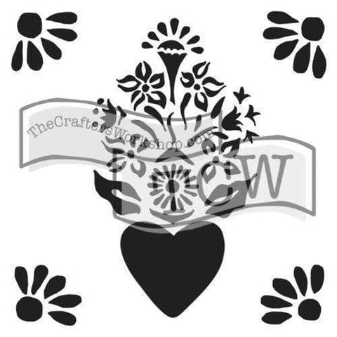 "Corazon Stencil-12"" x 12""-The Glass Underground"