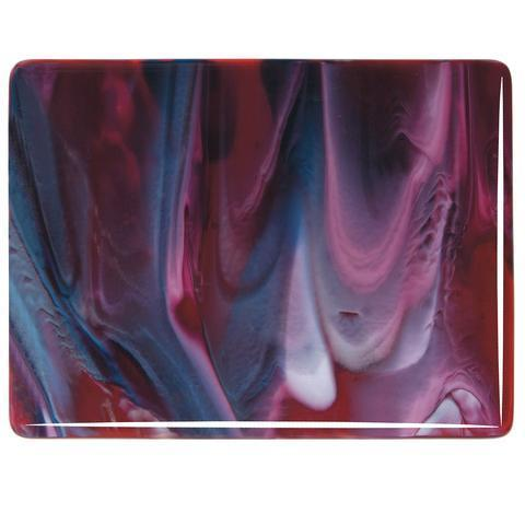 Cranberry Pink, Azure Blue, White Streaky (3346) Full Sheet Glass-The Glass Underground