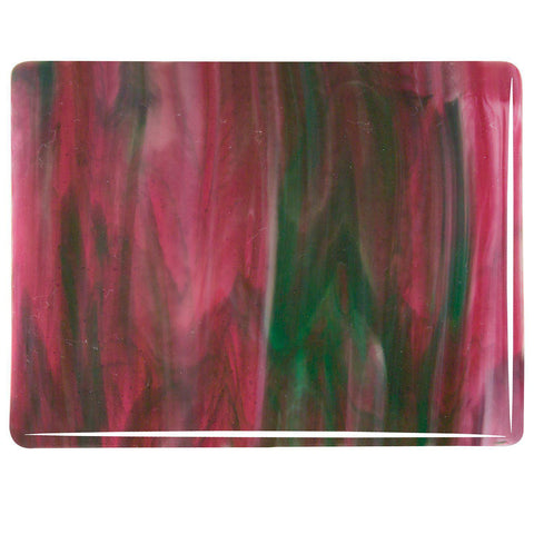 Cranberry Pink, Emerald Green, White Streaky (3345) 3mm-1/2 Sheet-The Glass Underground