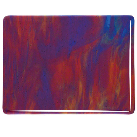 Cranberry, Royal Blue, Spring Green Streaky (3126) 3mm-1/2 Sheet-The Glass Underground