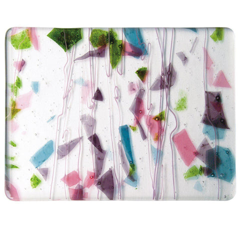 Deep Pink, Plum, Spring Green, Aqua With Pink Streamers on Clear (4128) 3mm-1/2 Sheet-The Glass Underground