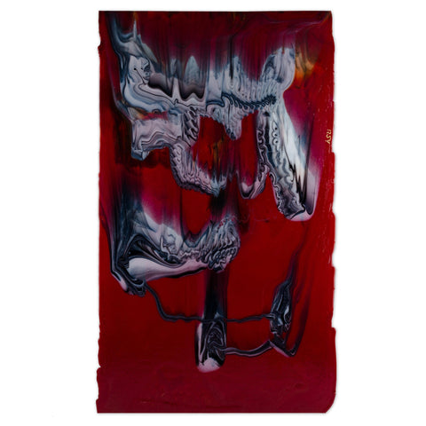 Deep Red with White and Black Graffiti (71228A) 3mm-1/2 Sheet-The Glass Underground