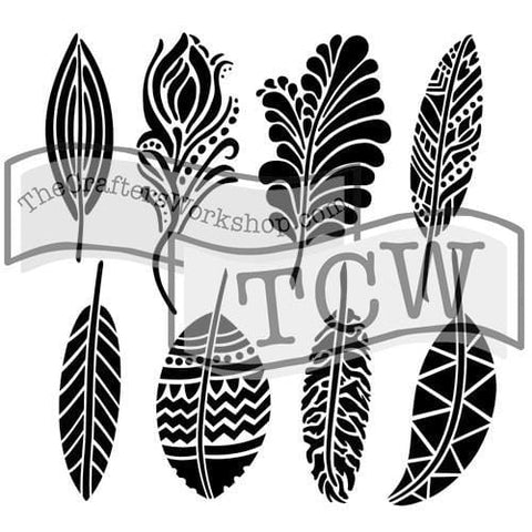 Fancy Feathers Stencil-The Glass Underground