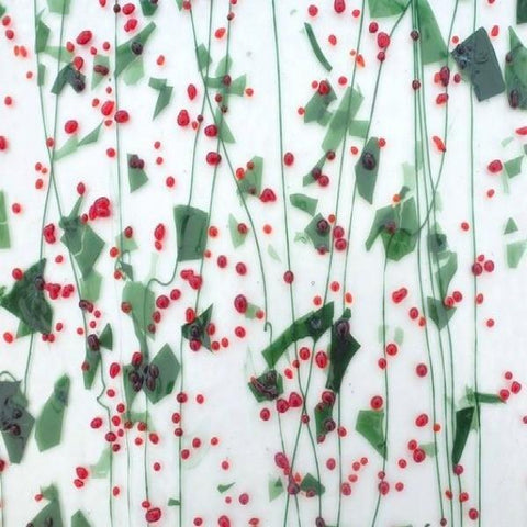 Holly Berry: Red Frit, Aventurine Green Fractures and Green Streamers on Clear (4228) 3mm-1/2 Sheet-The Glass Underground