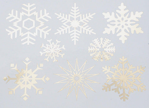 Large Snowflakes Decals-Platinum-The Glass Underground