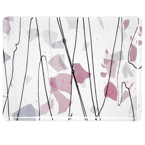 Light Pink and White on Clear (4121) Full Sheet Glass-The Glass Underground