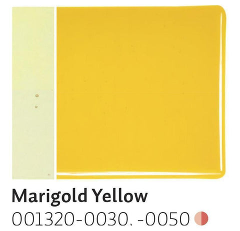 Marigold Yellow Transparent (1320) 2mm-1/2 Sheet-The Glass Underground