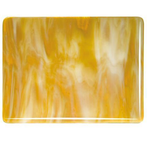 Medium Amber, White Streaky (2137) Full Sheet Glass-The Glass Underground