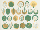 Modern Trees 2-Color Decals-Emerald & Gold-The Glass Underground