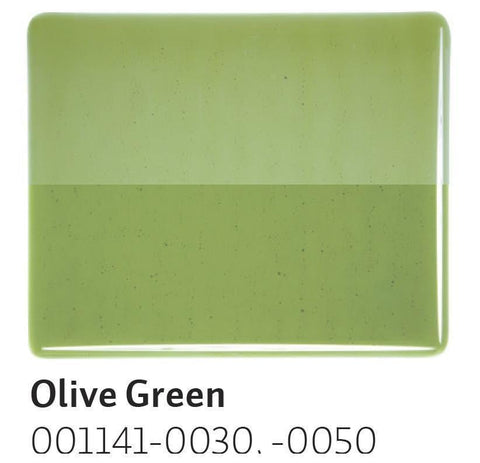 Olive Green Transparent (1141) 2mm-1/2 Sheet-The Glass Underground