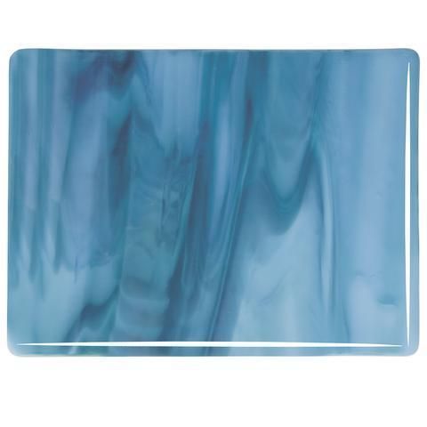 Powder Blue Opal, Marine Blue Streaky (2108) Full Sheet Glass-The Glass Underground