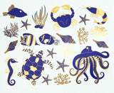 Sea Life 2-Color Decals-Turquoise & Gold-The Glass Underground