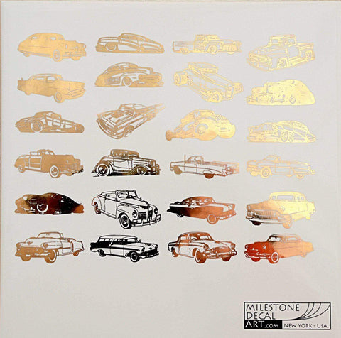 Small Retro Cars Decals-Gold-The Glass Underground