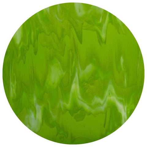Special Glass Circles - Spring Green, White Streaky (80102A)