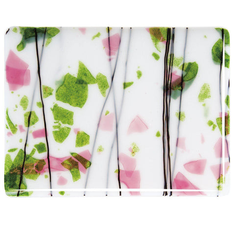 Spring Green and Deep Pink on White (4014) 3mm-1/2 Sheet-The Glass Underground