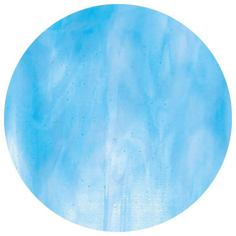 Streaky Glass Circles - Clear, Turquoise Blue, White Streaky (3116)