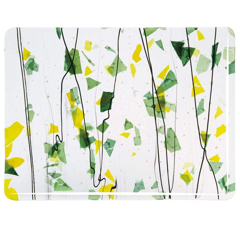 Summer: Green and Yellow on Clear (4112) Full Sheet Glass-The Glass Underground