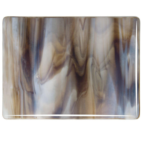 White, Dark Brown Streaky (2109) 3mm-1/2 Sheet-The Glass Underground