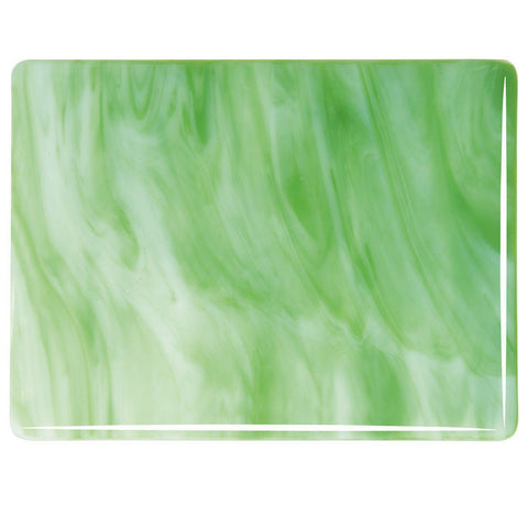 White, Light Green Streaky (2107) 3mm-1/2 Sheet-The Glass Underground