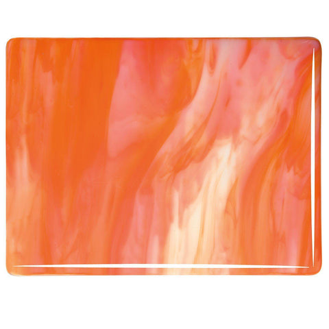 White, Orange Opal Streaky (2123) 3mm-1/2 Sheet-The Glass Underground